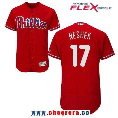 Men's Philadelphia Phillies #17 Pat Neshek Red Alternate Stitched MLB Majestic Cool Base Jersey