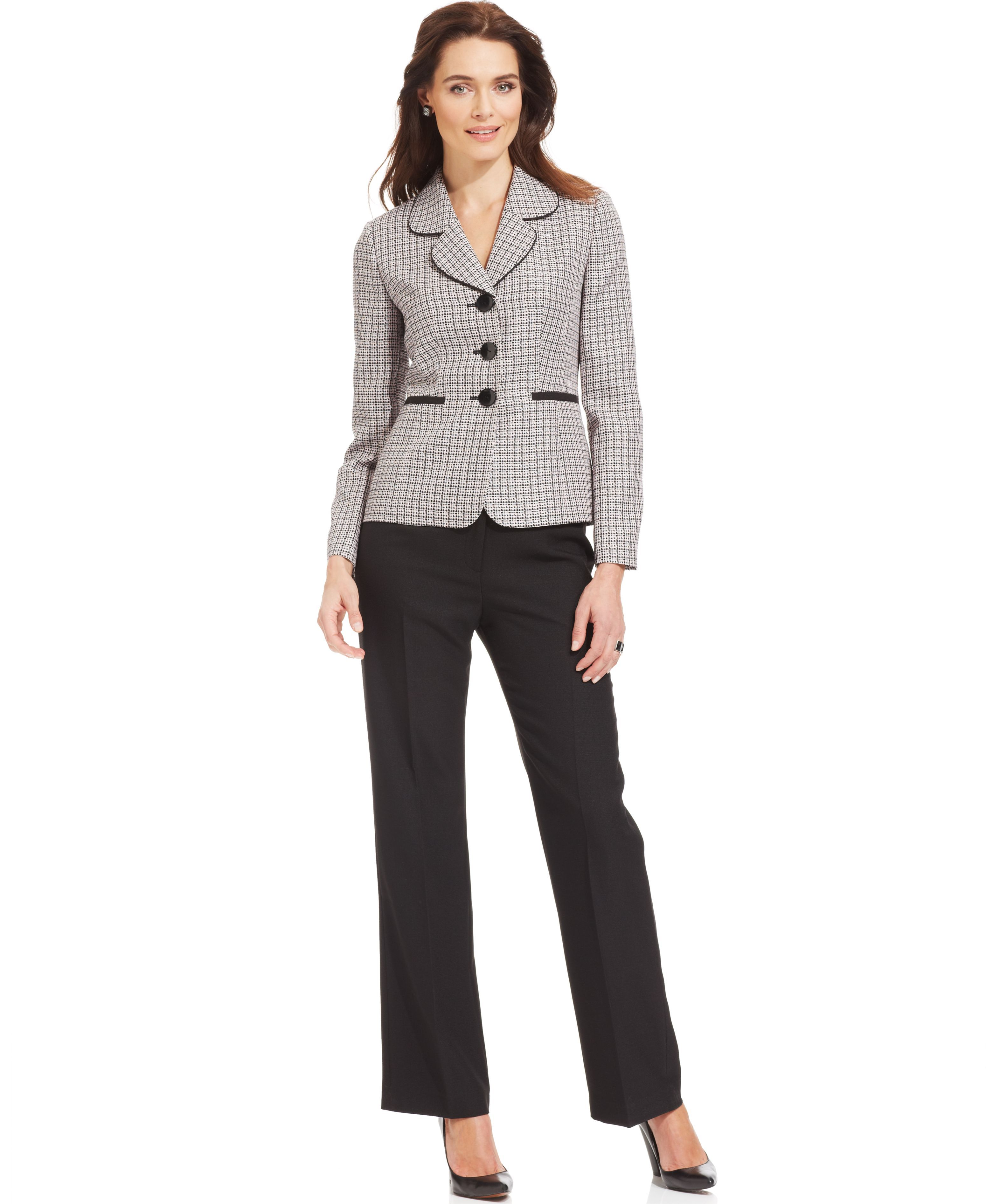 0c7ffc2fbe78 MACYS Le Suit Petite Tweed Jacket Pantsuit 1995464_fpx ----- Daniella Van  Graas