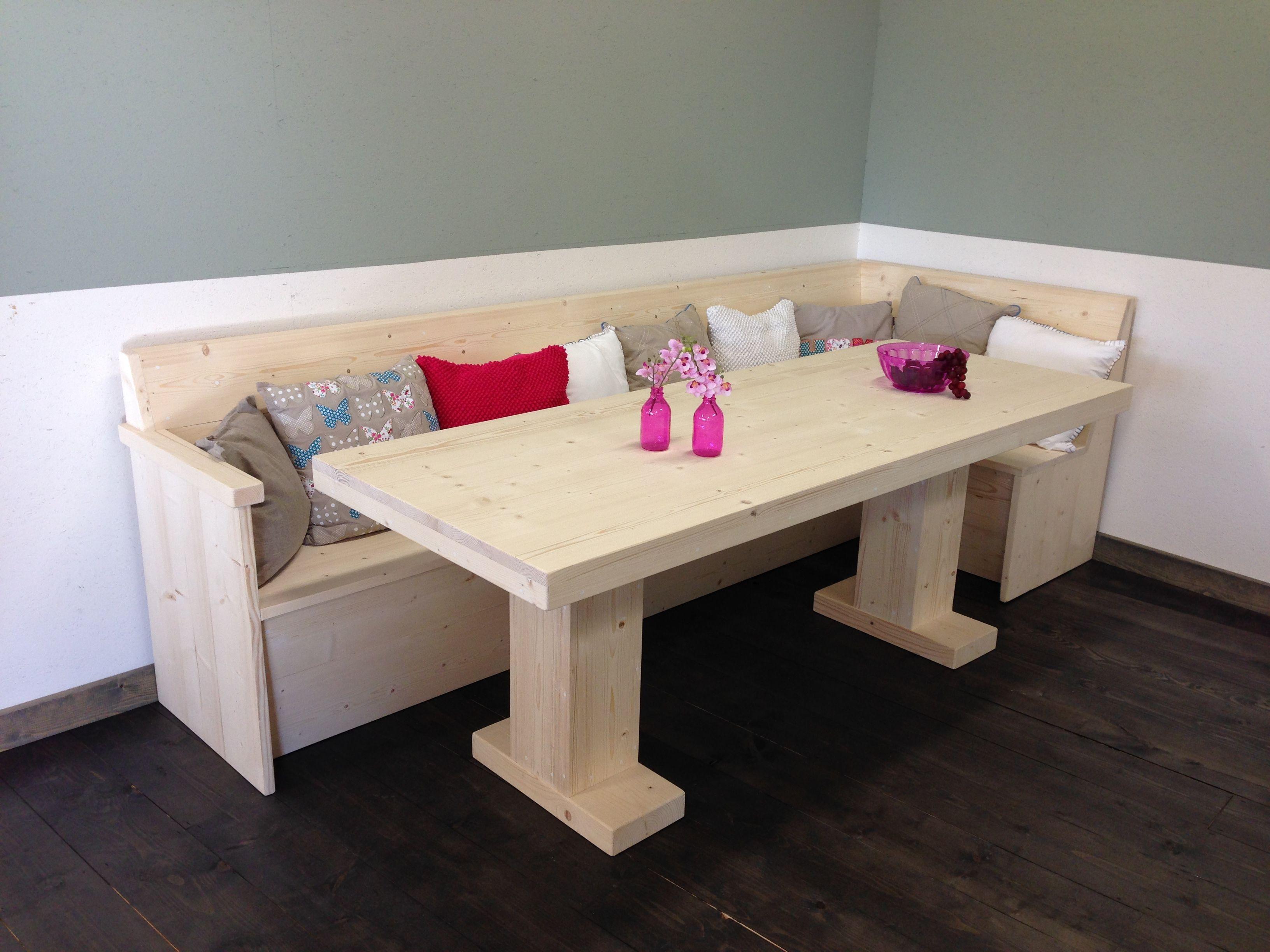 Set van een eettafel met twee centrale poten 80x120 cm en for Steigerhout eethoek