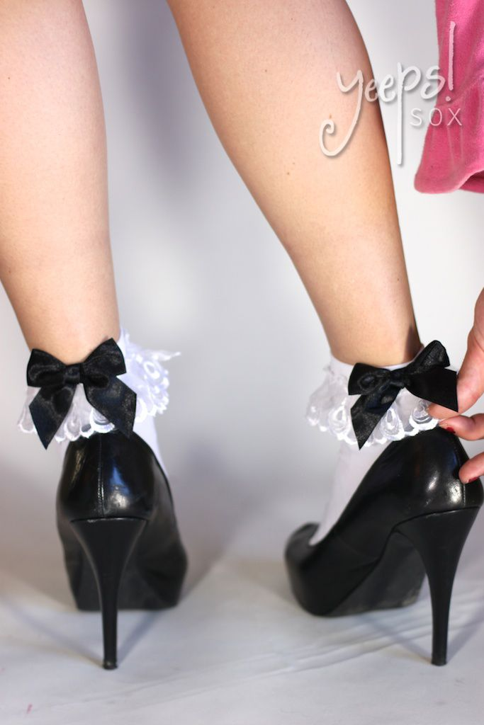 7ece2a688 Babydoll your attire w  these white with black bows   ruffled anklets.