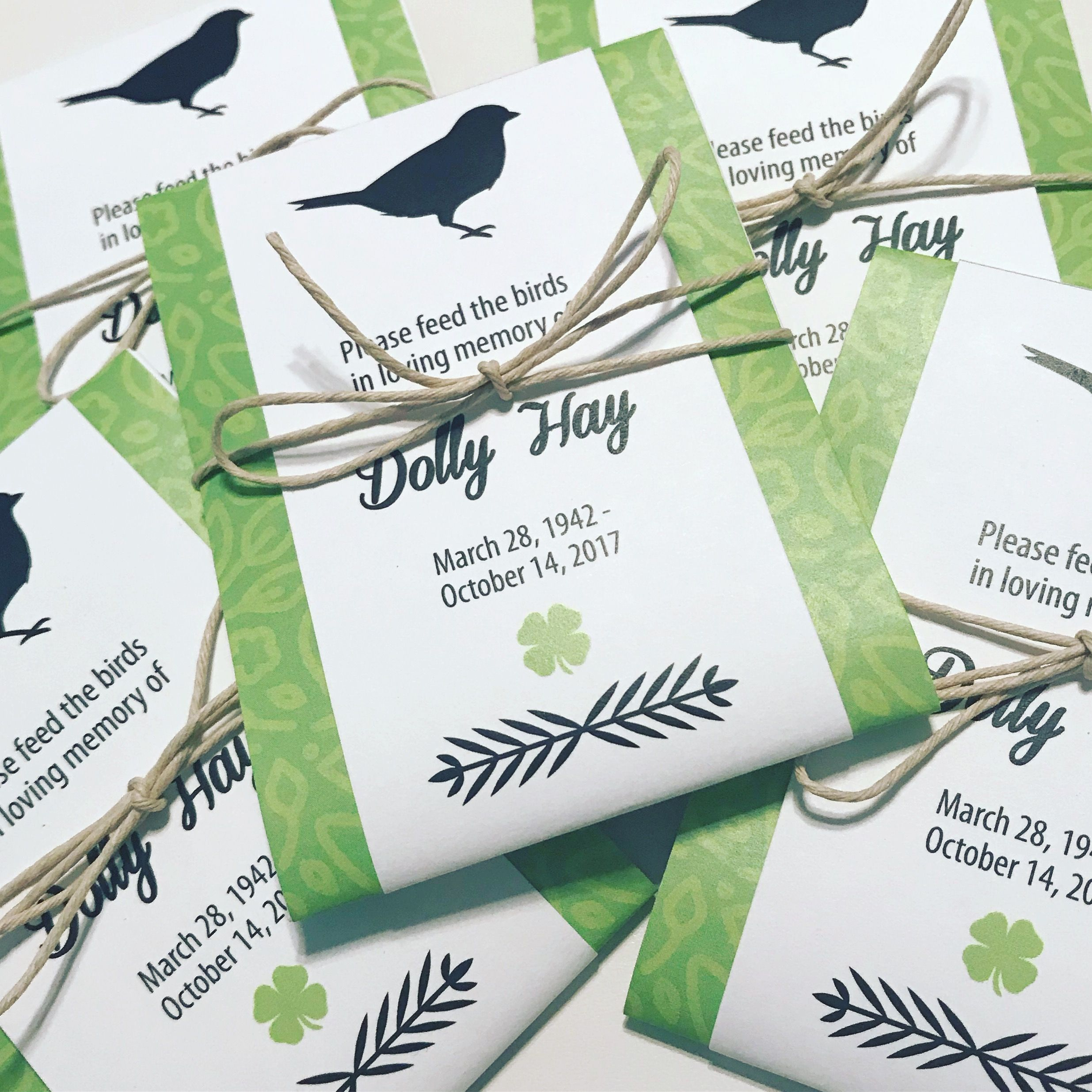Custom funeral favors. Memorial seed packets. Irish blessings and ...