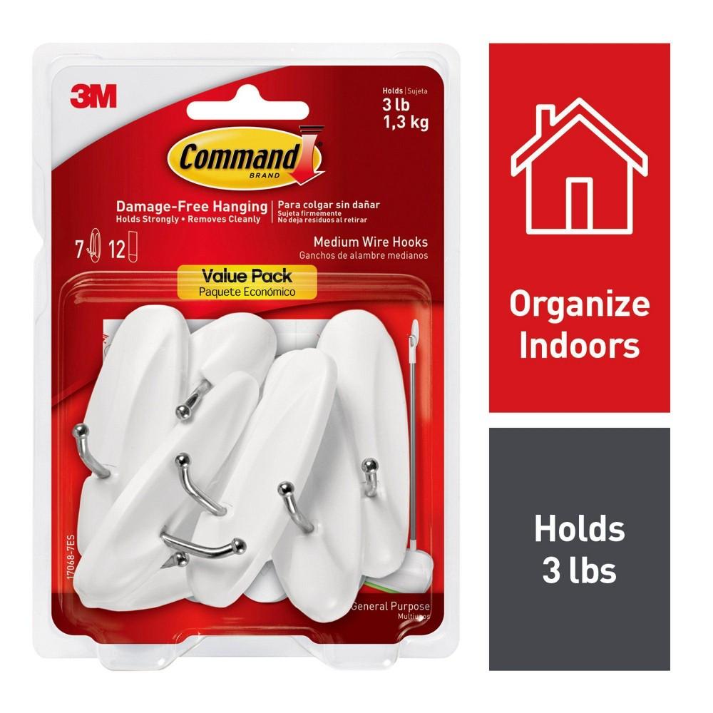 Command medium sized wire decorative hooks white rv