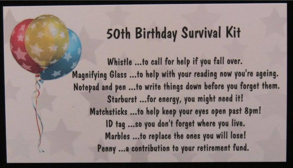 Birthday Gifts For Students Details About 50th Birthday Survival