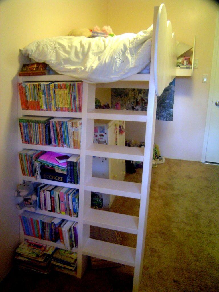 Junior loft bed ideas  Loft Beds With Bookshelf Ladders  Bookshelf ladder Lofts and Bunk bed