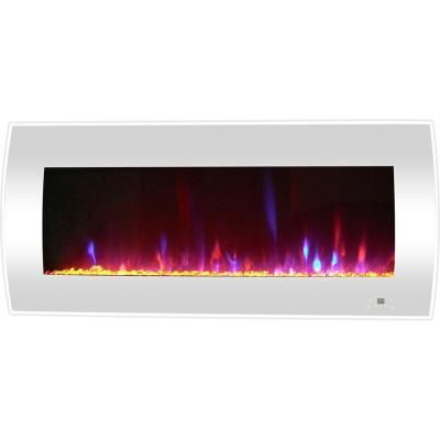 Cambridge Curved 42 In Wall Mount Electric Fireplace In White With Crystal Rocks Wall Mount Electric Fireplace Fireplace Heater Electric Fireplace