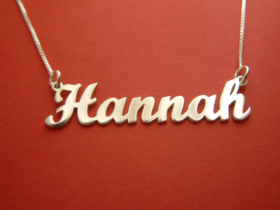 Name Necklace Hannah Name Chain Birthday Gift Name Necklace Gold Bridesmaid Gifts Nameplate Necklace Silver Name Necklace