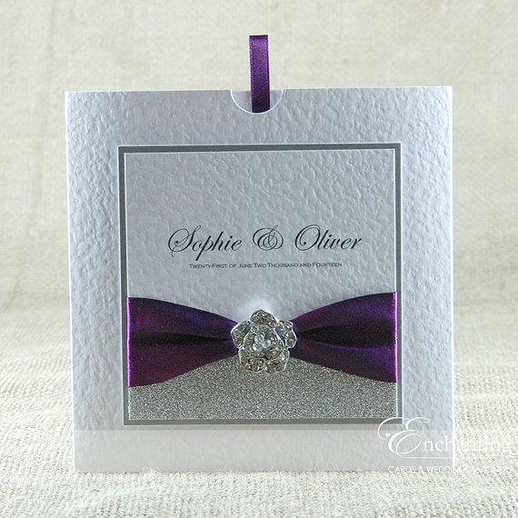 SAMPLE - The Cinderella Collection - Luxury Wedding Invitation (Glitter Paper, Wide Ribbon & Crystal Rose Embellishment)