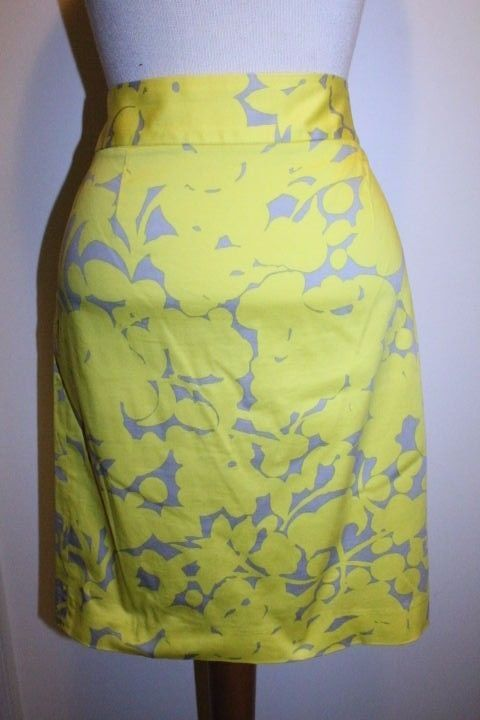 11322a4fd J Crew Skirt 6 Yellow Citron Gray Floral Print Classic Career Pencil Skirt # JCrew #StraightPencil