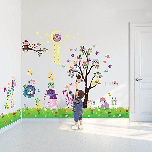 Animal Wall Stickers Owl Tree Kids Art Decal Nursery Vinyl