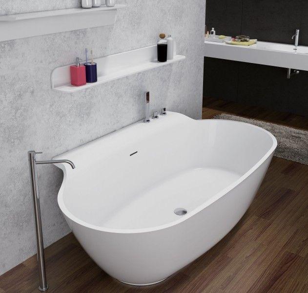 Freistehende Badewanne aus Mineralguss LUXX STONE weiß - 170 x 94 cm ...