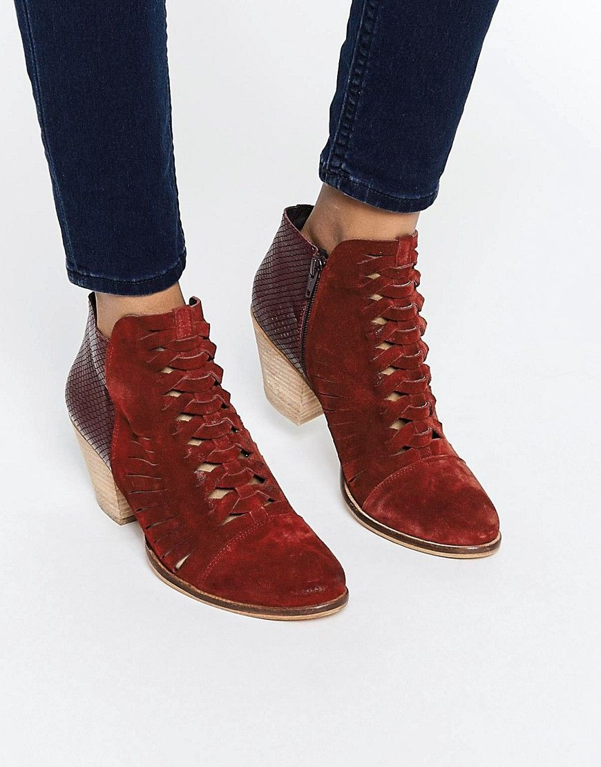 969d5a835 Image 1 of Free People Loveland Red Leather Ankle Boots   **Kicks ...