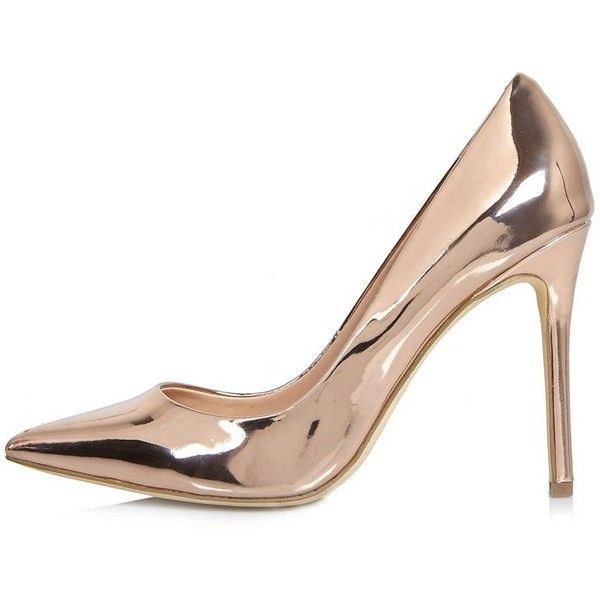 River Island Rose gold patent court