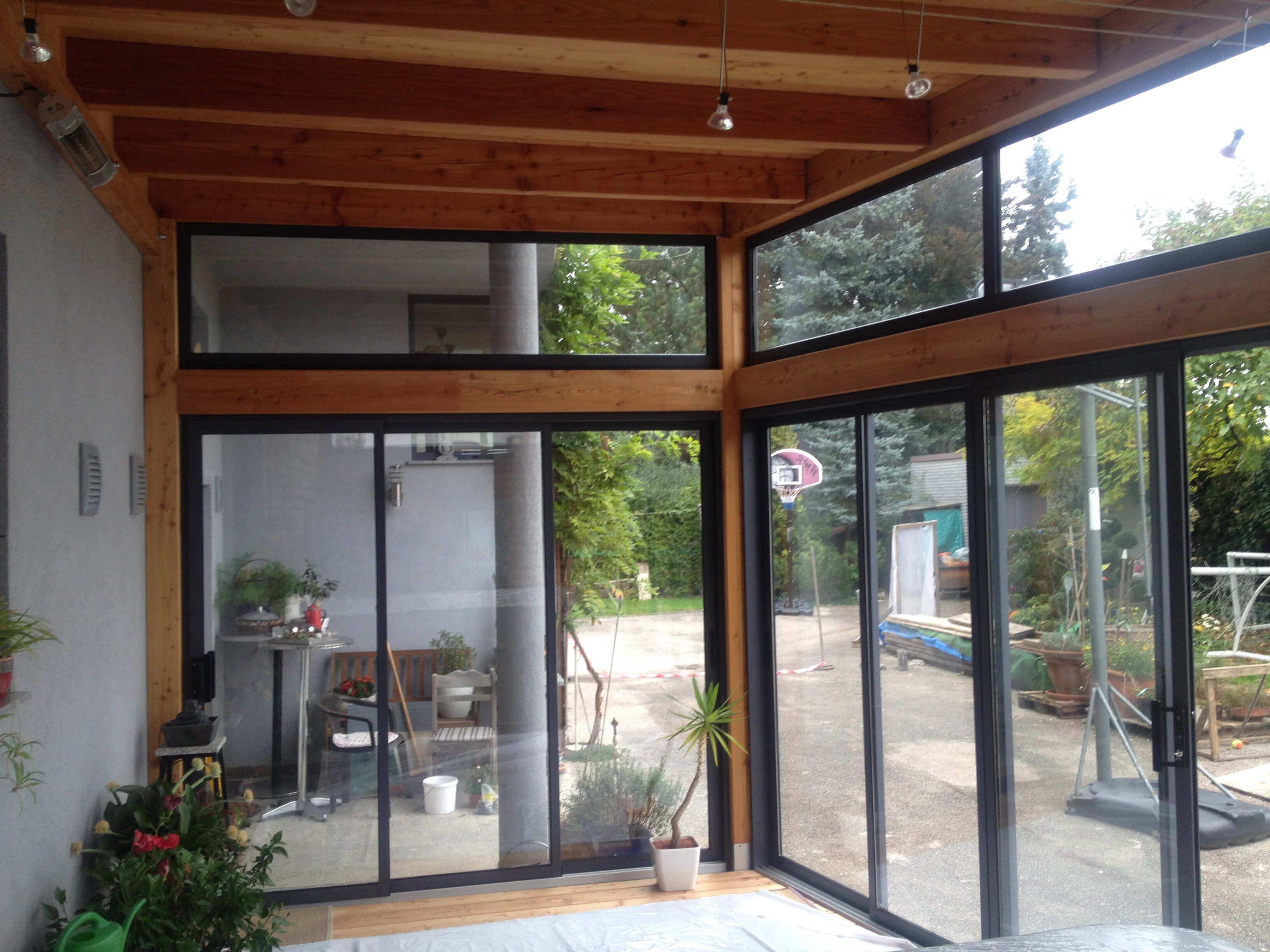 Holzanbau Mit Glas Und Schiebeturen In Oo Schiebefenster