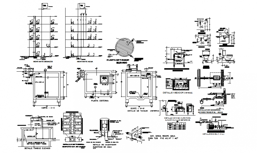Under Ground And Overhead Water Tank Drawing In Dwg File Cadbull In 2021 Tank Drawing Water Tank Underground