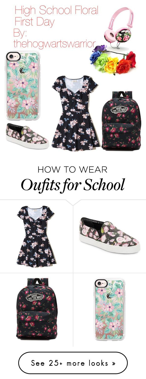 """""""High School First Day"""" by thehogwartswarrior on Polyvore featuring Hollister Co., Vans, Schutz and Casetify"""