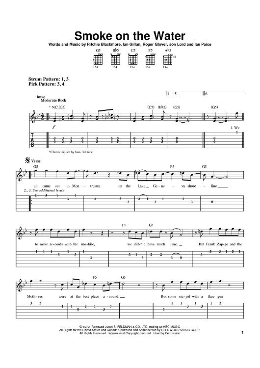 Smoke On The Water Sheet Music by Deep Purple | Music guitar, Sheet ...