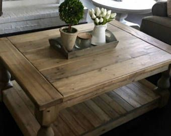 Large Square Rustic Baer Wide Plank Coffee End Table