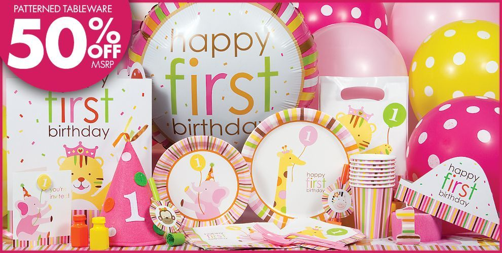 Sweet At One Girls 1st Birthday Party Supplies Arias First