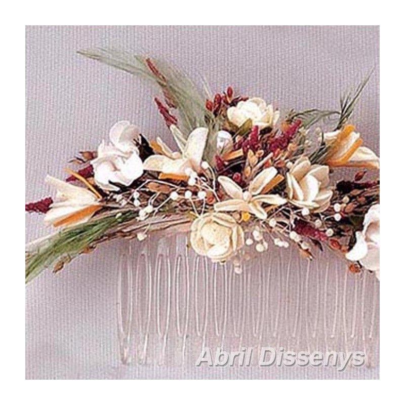 Peineta Con Flores Secas Y Plumas Para Recojer Tu Melena Con Una Tocado Con Peineta Con Flores Para Flores Secas Arreglos Florales Complementos Para El Pelo