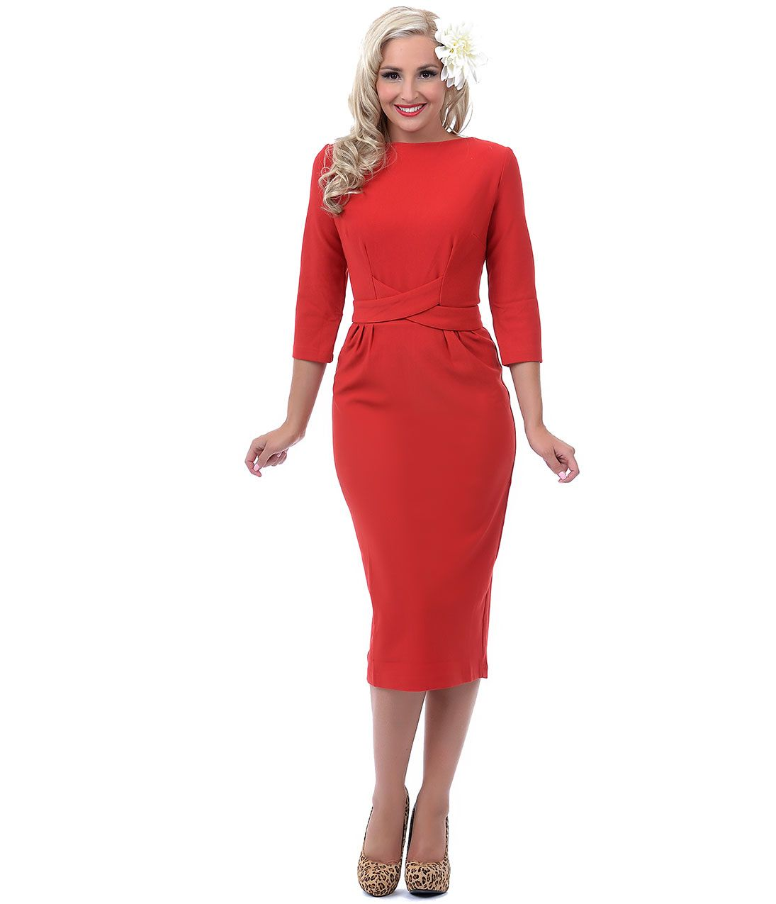 Red Three-Quarter Sleeve Vickie Wiggle Dress #uniquevintage | This ...