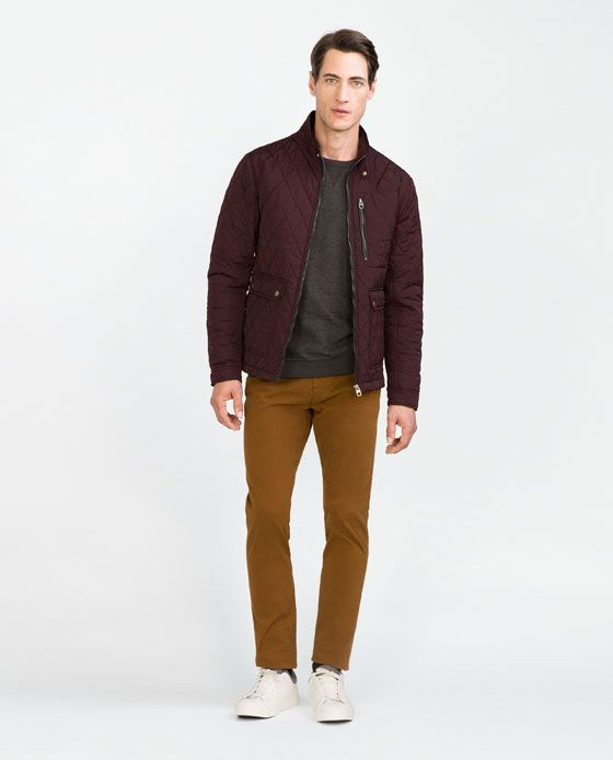 Small Maroon Zara Man Quilted Jacket Wishlist Chaz