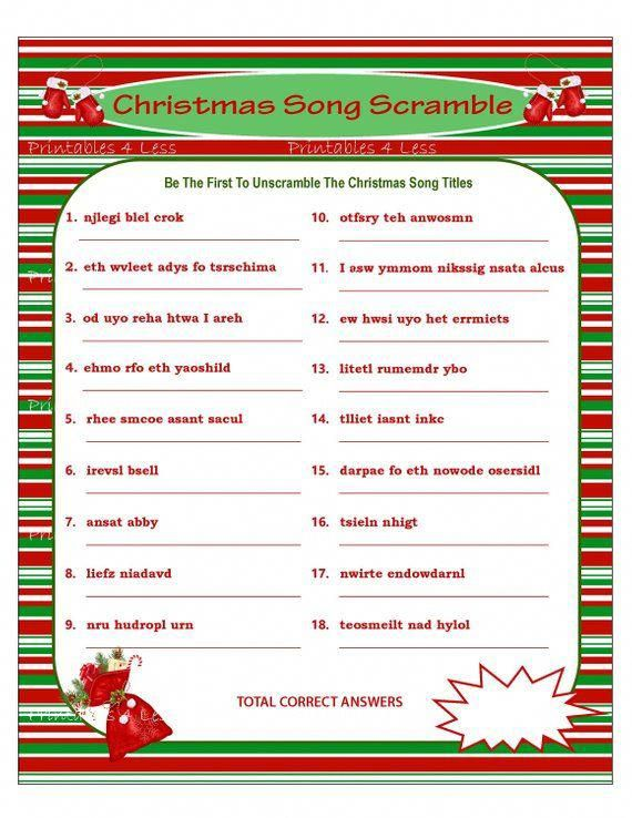 This is a photo of Exhilarating Christmas Song Scramble Free Printable