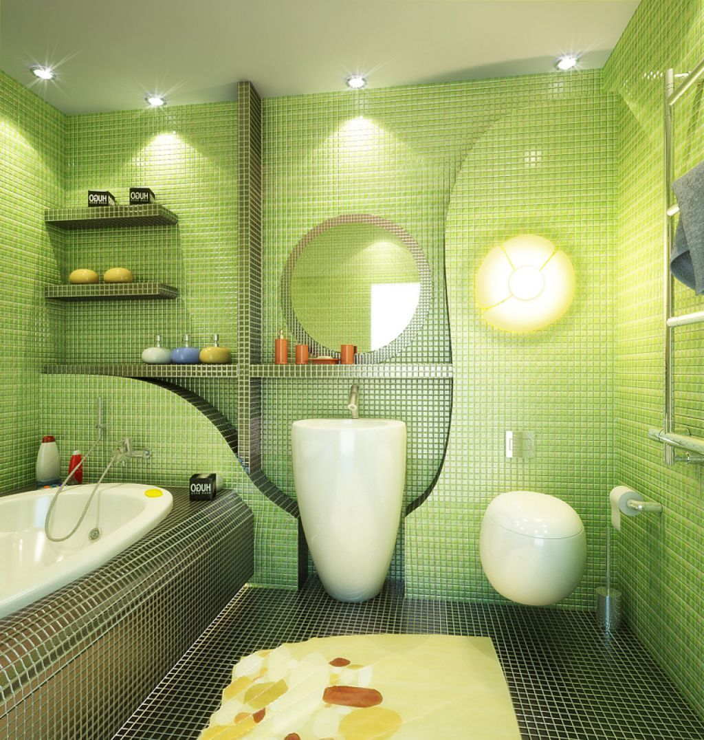 Superior Small Green Bathroom Ideas Part - 8: 4 Brilliant Ideas For Bathroom Decorations, Lighting And Colors - Bathroom  Decorating Ideas And Designs