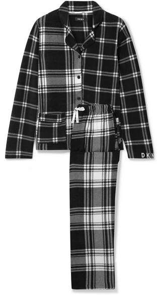 DKNY Too Good To Give Checked Fleece Pajama Set - Black  Give Checked  1f3c5b235