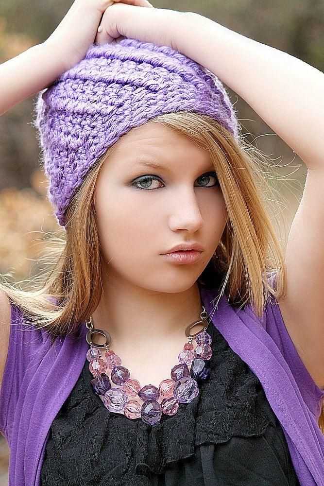 Purple Hat Swirl Beanie Chunky Beanie Hat Crochet Hat for Women Teen ...