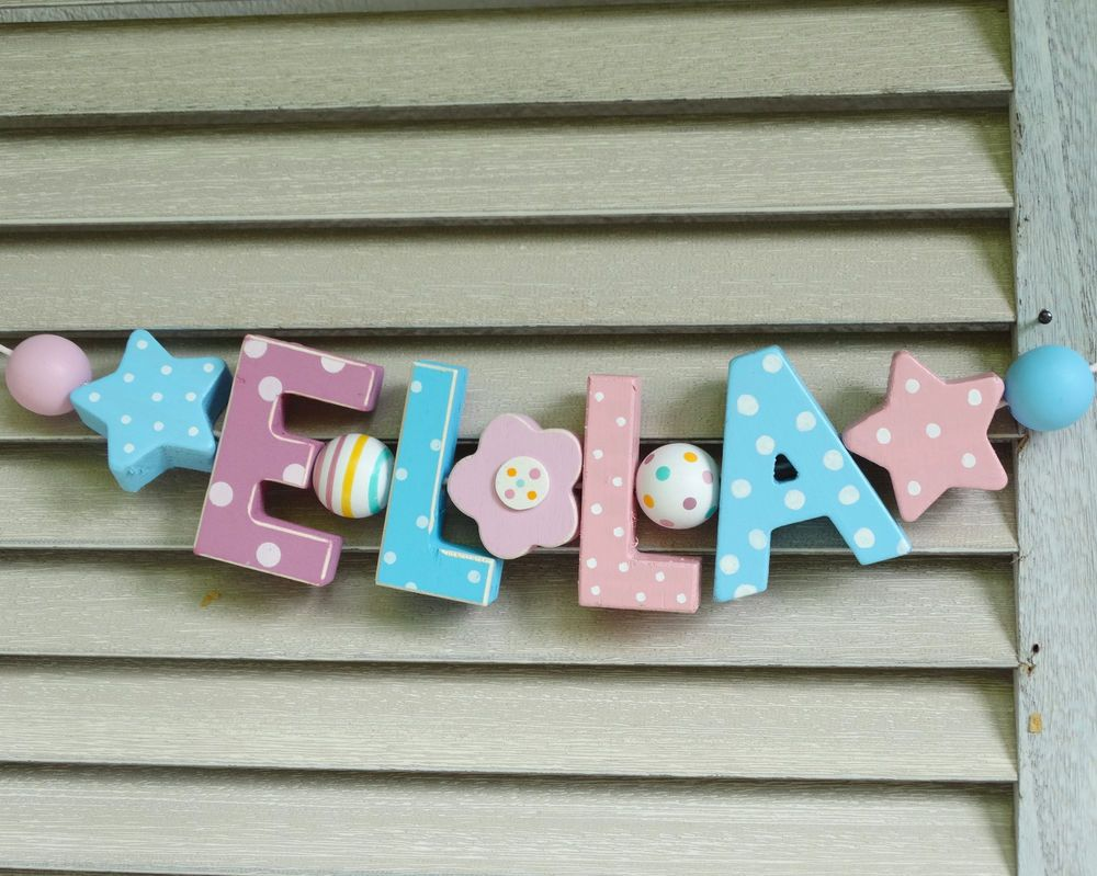 Ella Wooden Wall Letters Door Name Baby Shower Nursery Decor Shabby