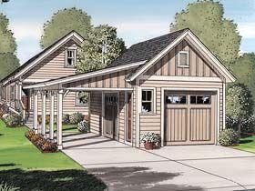 Battle shack garage plan 30505 bungalow cottage for Craftsman carport