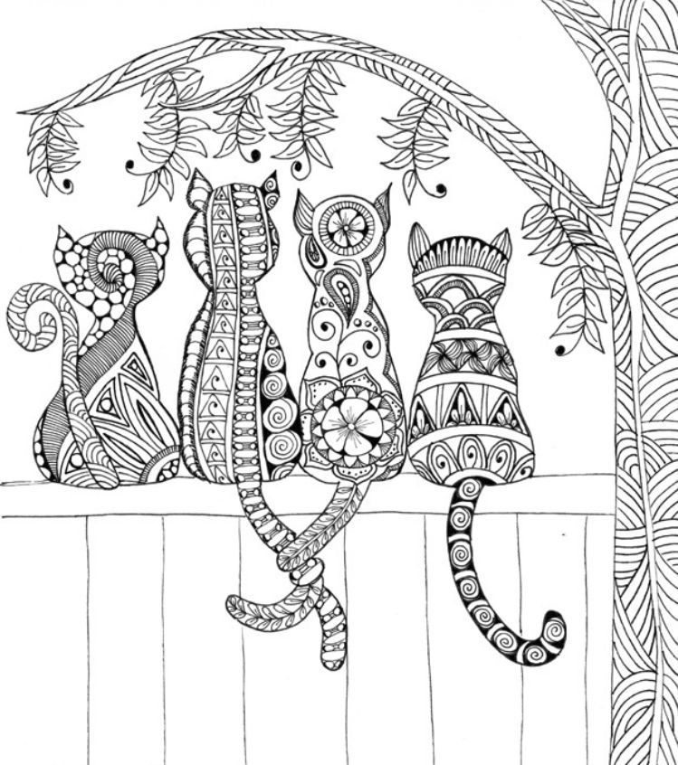 Cats On A Fence Coloring Page Mandala Coloring Pages Free Adult