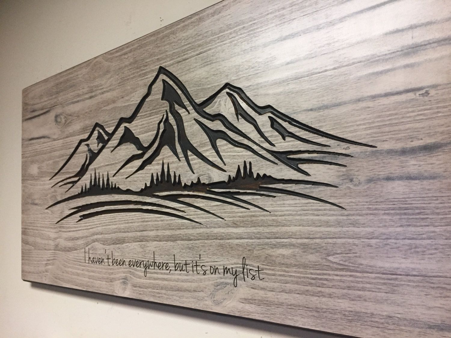 Mountain Wall Art, Wood Carved Wall Art, Mountain Decor, Mountain Range Wall  Hanging
