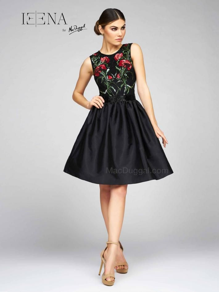 This Ieena Duggal Cocktail Dress Is Prettily Prim With A Scoop Neck