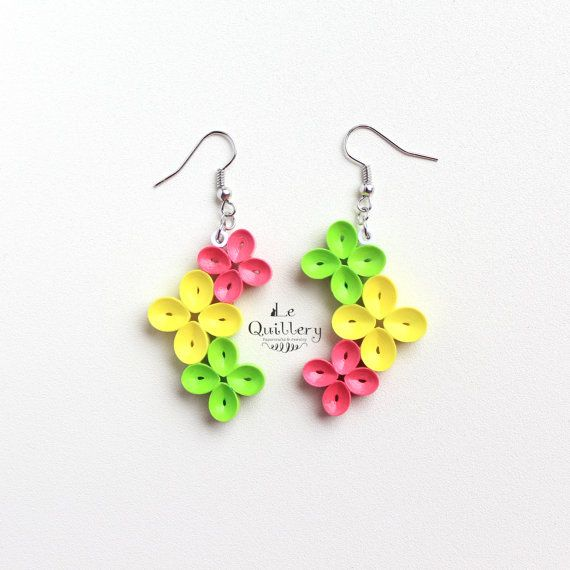 Bright and Colorful Flower Earrings / Paper Quilling Jewelry
