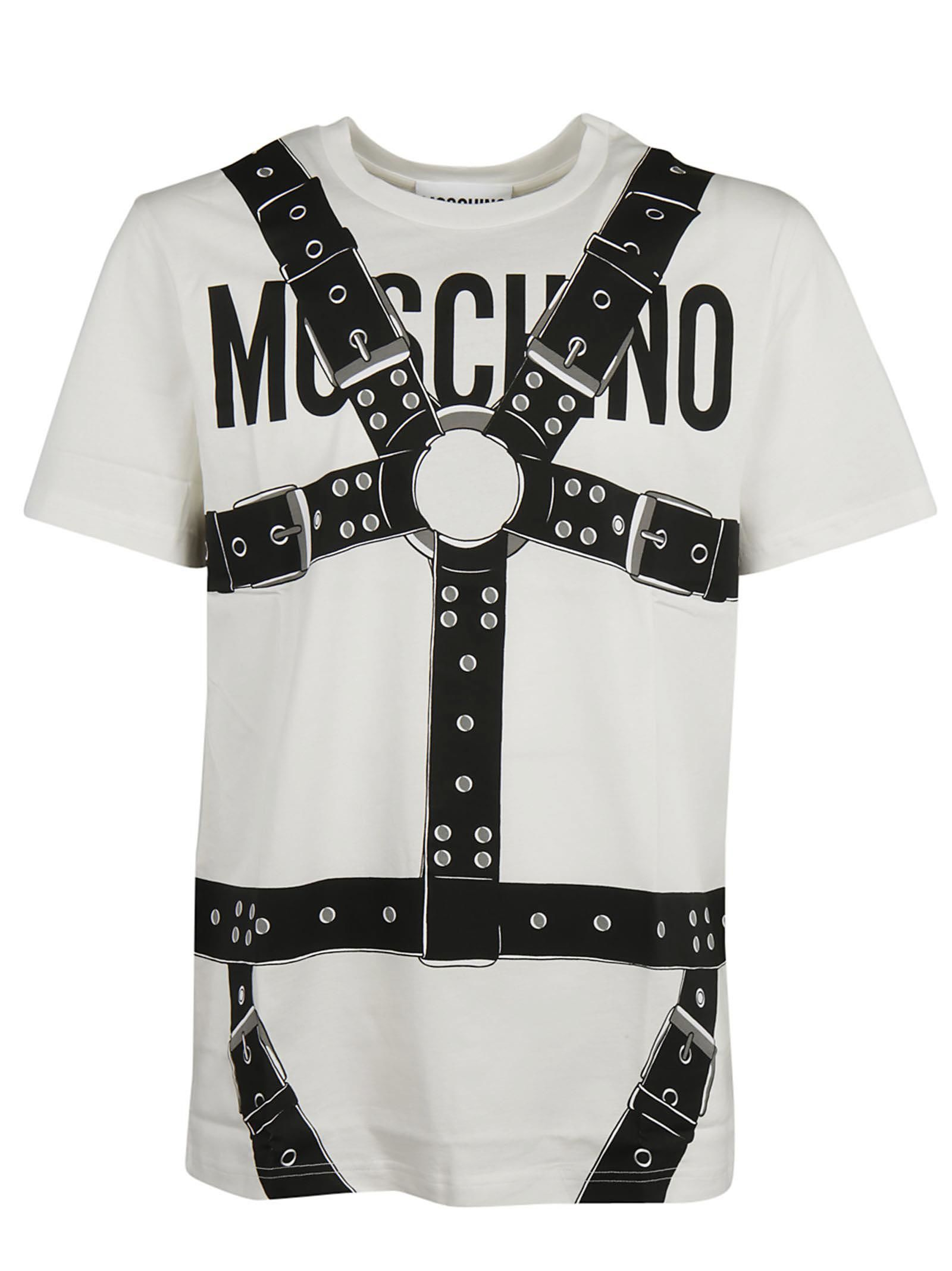 MOSCHINO MOSCHINO LOGO AND HARNESS PRINT T-SHIRT.  moschino  cloth ... 881e2dba0f4