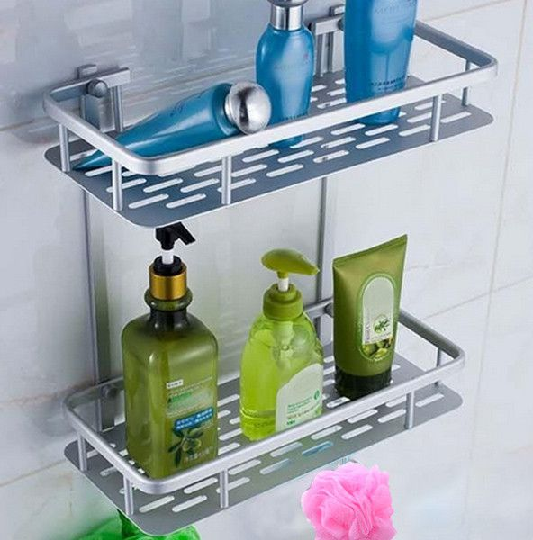 Bathroom Wall Mounted Dual Layer Space Soap Shampoo Facial Cleanser Bottle Storage Shelf Holder Stand Rack Hooks Icon2 Luxury Designer Fixures Bathroom Wall