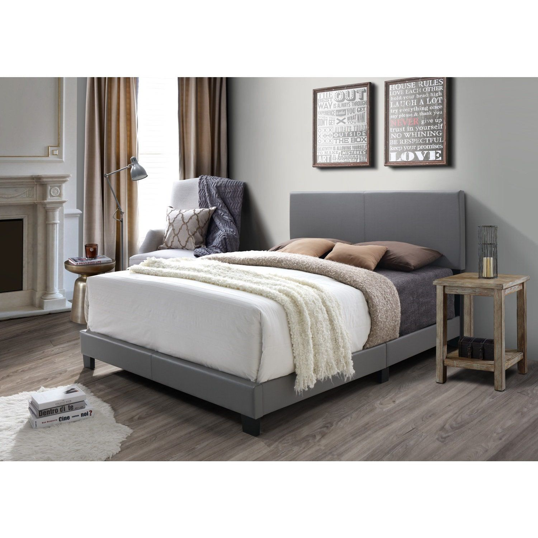 Dg Casa Kelly Grey Faux Leather Bed Remodel Bedroom Bed Frame
