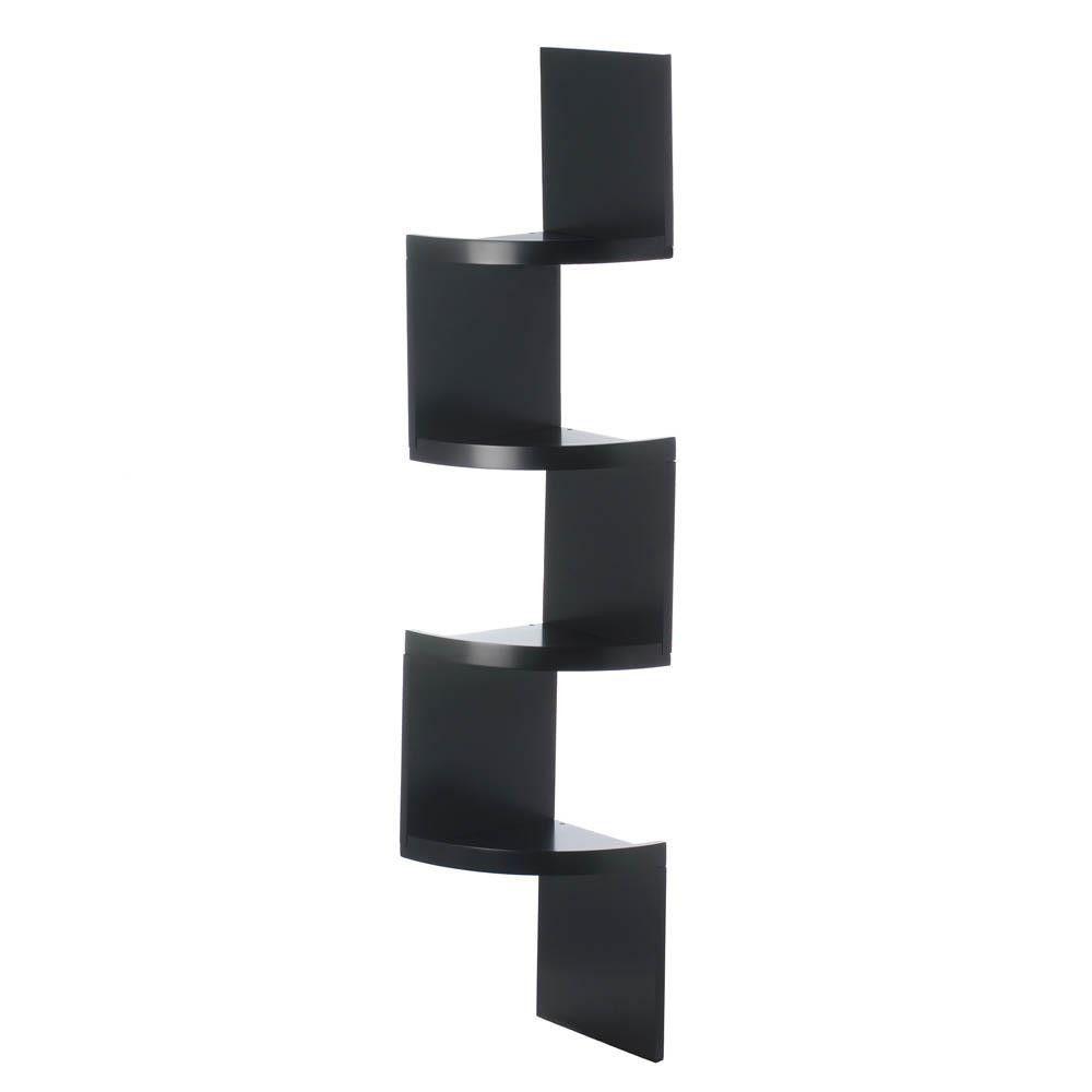 Zig Zag Corner Shelves 2 Shelf Black Black Corner Shelf Corner Shelves Corner Wall Shelves
