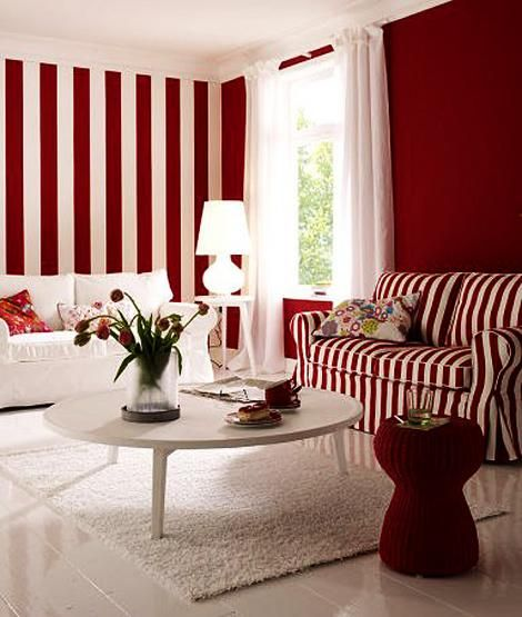 Nature Inspired Red Color Schemes Adding Bright Accents To Modern Interior Design Living Room Red Striped Walls Living Room White