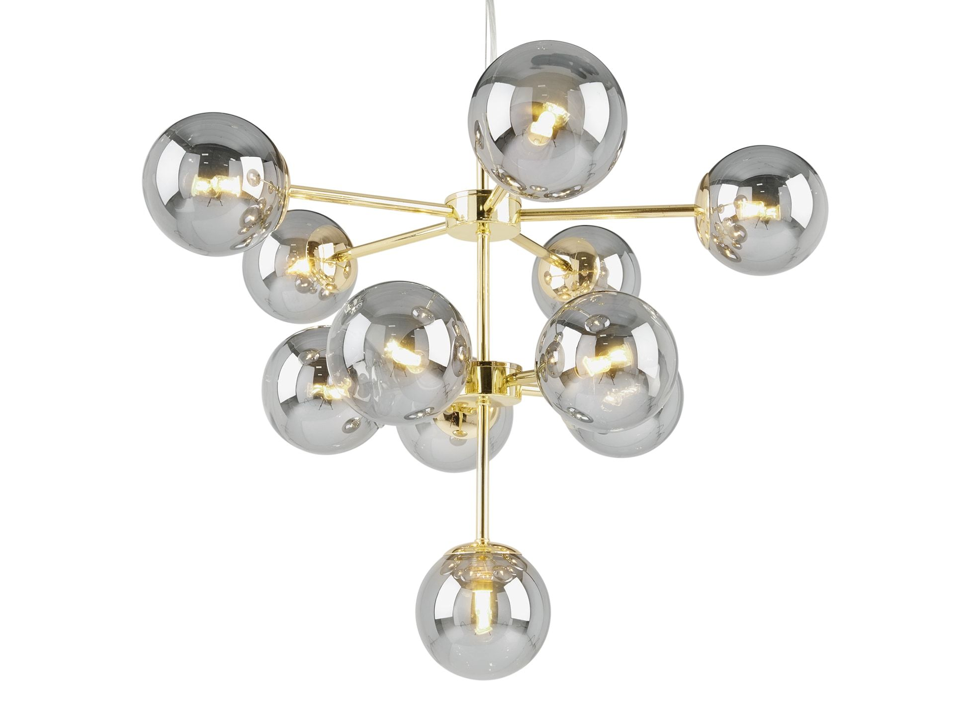 Globe Chandelier, Brass and Smoked Glass | Globe chandelier