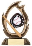 Action Baseball Full Color High Relief Icon Award with Bronze Finish Base with room for an Engraving Plate