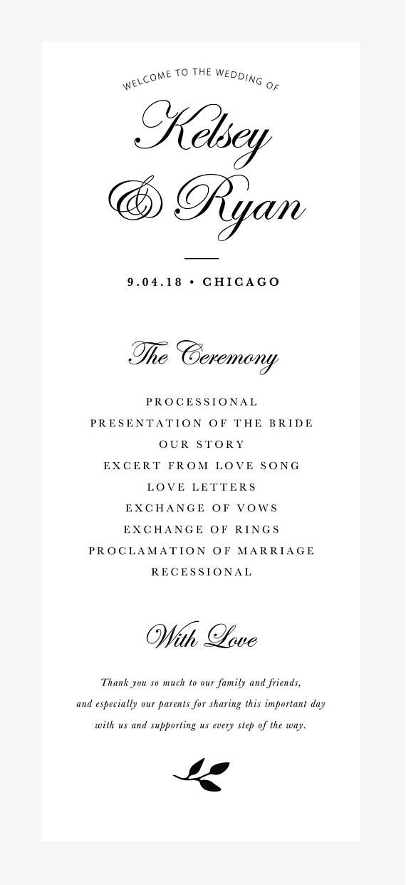 Editable Wedding Program Template Order Of Ceremony Template - Photoshop wedding program template