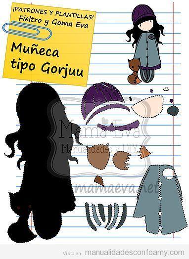 277aa5fa974 Patrón gratis muñeca tipo Gorjuss 2D o plana 2