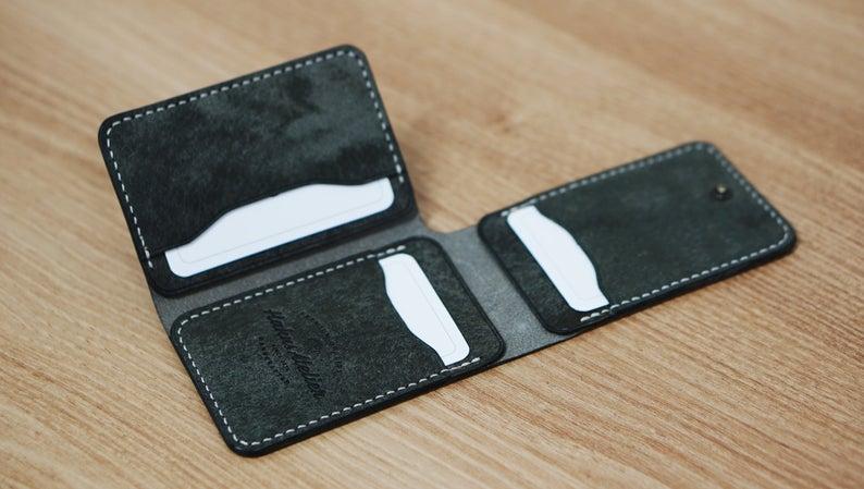 Leather Card Wallet Pdf Pattern Tri Fold Card Holder Diy Etsy Leather Card Wallet Leather Wallet Pattern Leather Craft Patterns