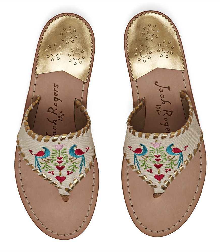 Exclusive Parrots Sandal Embroidered sandal, Jack rogers