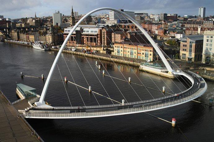 Gateshead Millennium Bridge   Tilting Bridge in England   Gateshead  millennium bridge, Millennium bridge, Bridge