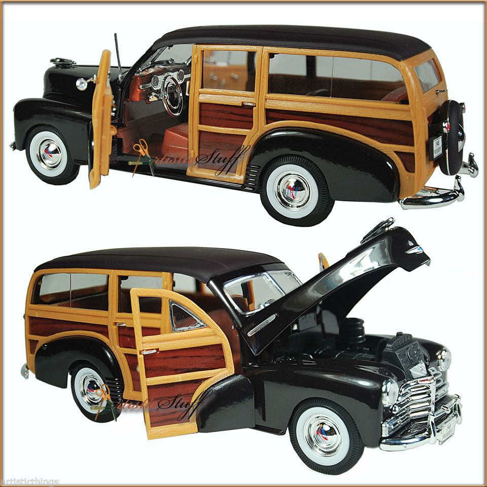 WELLY 1948 CHEVROLET WOODY WAGON FLEETMASTER BROWN NEW, 1