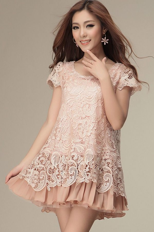 Lace Overlay Short Sleeve Dress - OASAP.com | Lace, Sleeve dresses ...