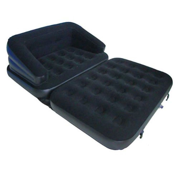 New 5 In 1 Inflatable Double Flocked Sofa Couch Bed Mattress